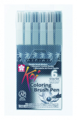 Набір маркерів Koi Coloring Brush Pen, GRAY 6кол., Sakura